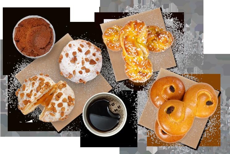 lussebullar, peparkakamuffins, saffranskrans, cola-munk och kaffe